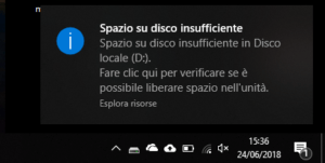Notifica spazio insufficiente